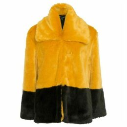 French Connection Sebille Faux Fur Colour Block Coat