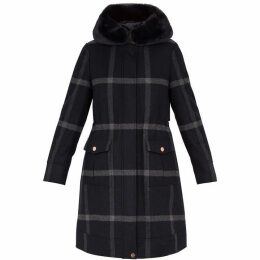 Ted Baker Ohna Faux Fur Hood Check Wool Parka