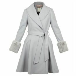 Ted Baker Zurii Faux Fur Trim Wool Wrap Coat