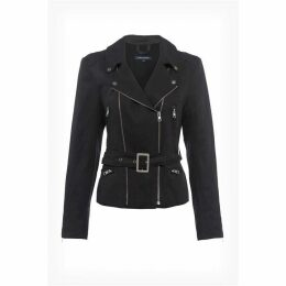 French Connection Pera Linen Blend Biker Jacket