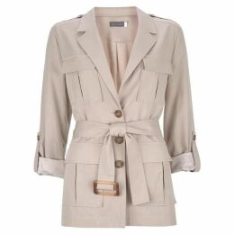 Mint Velvet Neutral Belted Safari Blazer