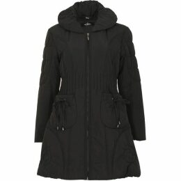 David Barry Ruched Collar 7 8 Quilted Coat
