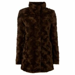 Vero Moda High Neck Faux Fur Coat