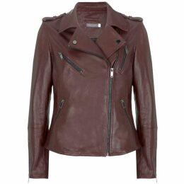 Mint Velvet Berry Leather Biker Jacket