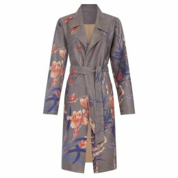 Yumi Structured Floral Wrap Coat