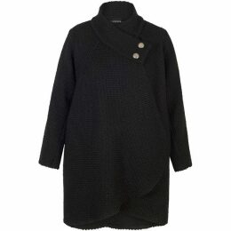 Chesca Basket Weave Coat With Deep Wrap Collar