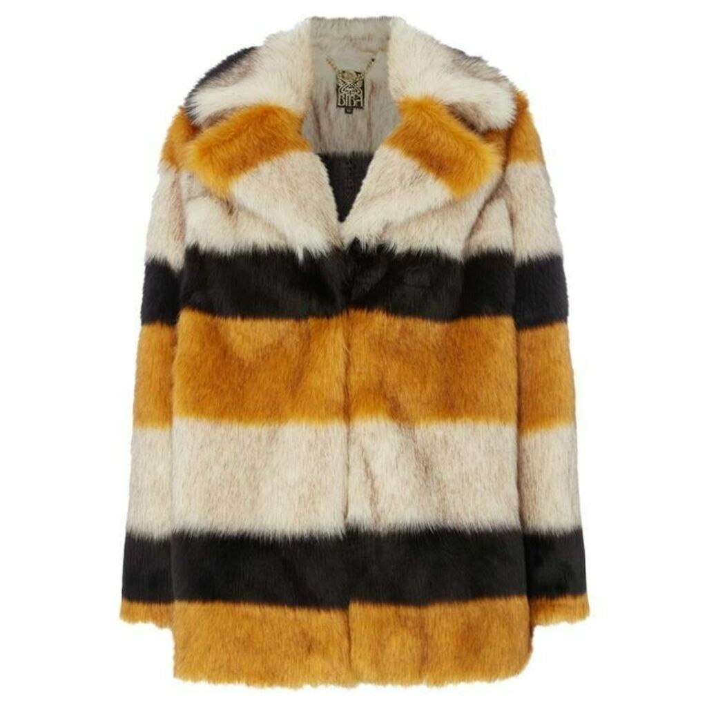 Biba Stripe portobello faux fur coat
