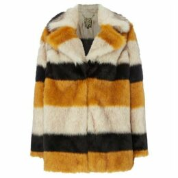 Biba Stripe portobello faux fur coat
