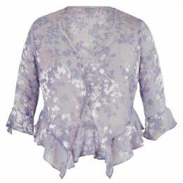 Chesca Lilac Devoree Applique Trim Shrug