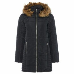 Vero Moda Longline Padded Coat With Fur Trim Hood
