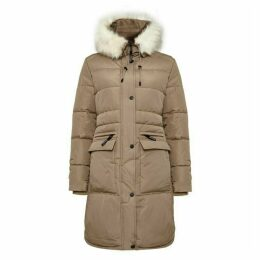 Covert Overt Ladies Quilted Hooded Winter Jacket W. Faux Fur