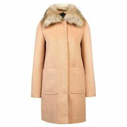 Carolina Cavour Ladies Woollen Winter Hooded Jacket W. Faux Fur