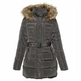 Covert Overt Ladies Quilted Winter Hooded Jacket W. Faux Fur