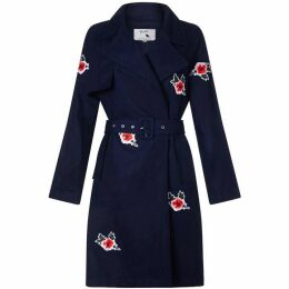 Yumi Trench coat with embroidered flowers
