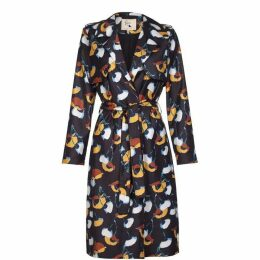 Yumi Woven Poppy Pattern Trench Coat