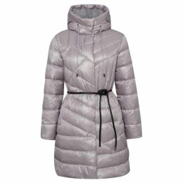 Carolina Cavour Ladies Down Hooded Jacket With Elegant Belt