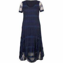 Chesca Sheer And Stripe Crush Pleat Drape Dress