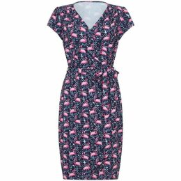 Yumi Flamingo Jersey Wrap Dress