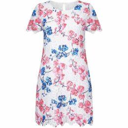 Yumi Curves Blossom Print Lace Tunic Dress