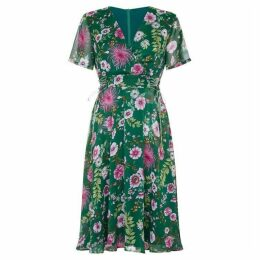 Yumi Floral Tie Waist Tea Dress