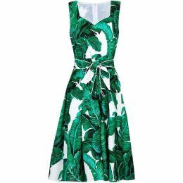 Yumi Palm Print Skater Dress