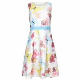 Yumi Pressed Butterfly Print Jacquard Dress