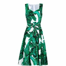 Yumi Curves Tropical Palm Print Skater Dress