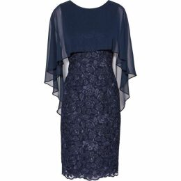 Gina Bacconi Michelle Embroidered Mesh Dress And Cape