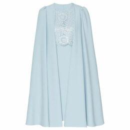 Gina Bacconi Jolene Crepe And Lace Dress With Cape