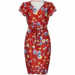 Yumi Pansy Print Wrap Dress