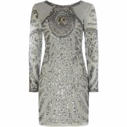 Lace and Beads Long sleeve beaded short shift dress
