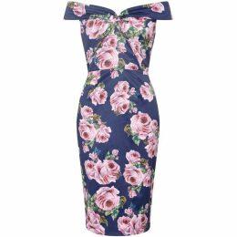 Yumi Rose Printed Bardot Dress