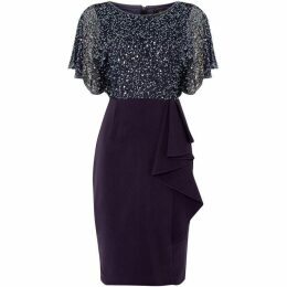 Adrianna Papell Sequin shift dress with side ruffle