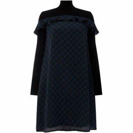 Sportmax Code Pedina check frill dress