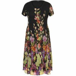 Chesca Floral Border Crush Pleat Dress