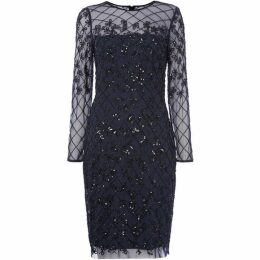 Adrianna Papell Long sleeve beaded shift dress