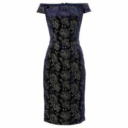 Adrianna Papell Velvet dress with bardot straps