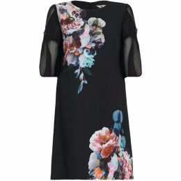 Yumi Curves Flute Sleeve Floral Tunic Dress