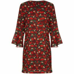 Yumi Retro Floral Print Fluted Sleeve Tunic Dress
