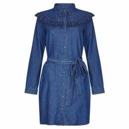Yumi Ruffle Detail Denim Shirt Dress