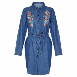 Yumi Floral Embroidered Denim Shirt Dress