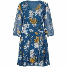 Yumi Curves Peony Pattern Wrap Dress
