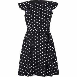 Yumi Polka Dot Frill Skater Dress