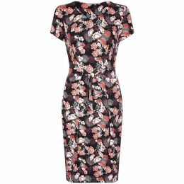 Yumi Curves Japanese Flower Tie Front Jersey Dress