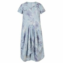 Chesca Floral Print Linen Drape Dress