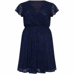 Mela London Curve Frill Lace Wrap Dress