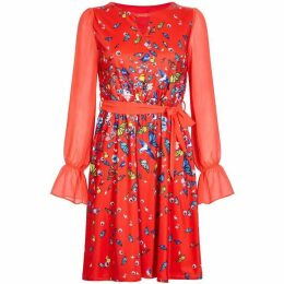Yumi Curves Butterfly And Bird Print Dress
