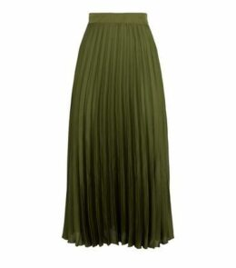 Green Pleated Satin Midi Skirt New Look