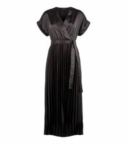 Black Satin Pleated Midi Dress New Look