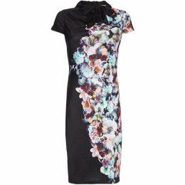 Yumi Floral Print Cowl Neck Dress